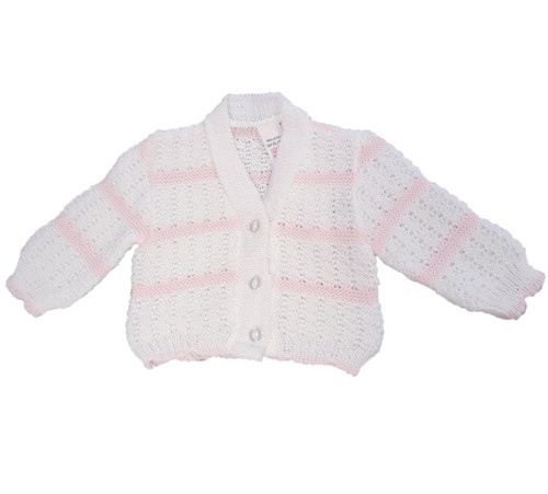 Striped knitted V neck Cardigan (Pink/White)