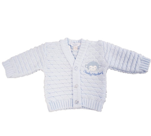 Blue Cheeky Monkey Knitted cardigan - 3-5lbs +5-8lbs