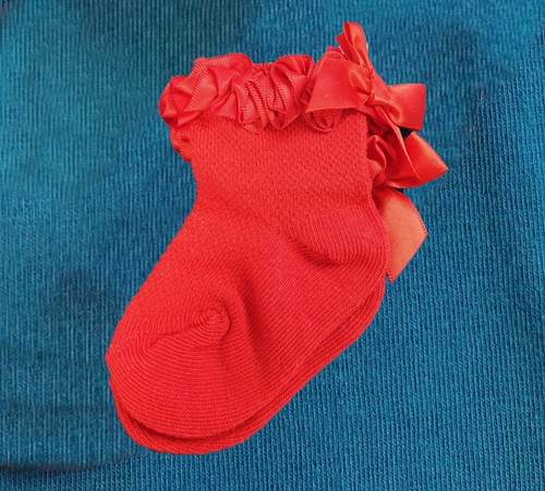 Red frilly sock with bow back
