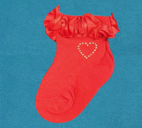 Red frilly sock with silver dot heart