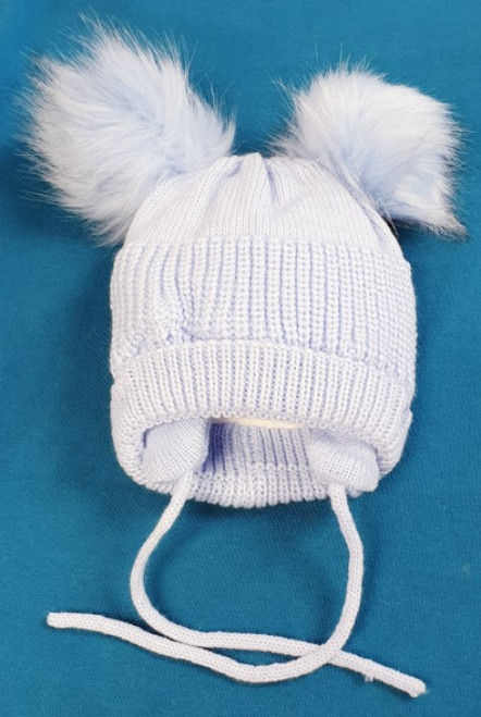 Double faux fur Pom Pom fleece lined hat Blue