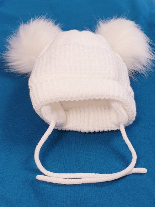 Double faux fur Pom Pom fleece lined hat White