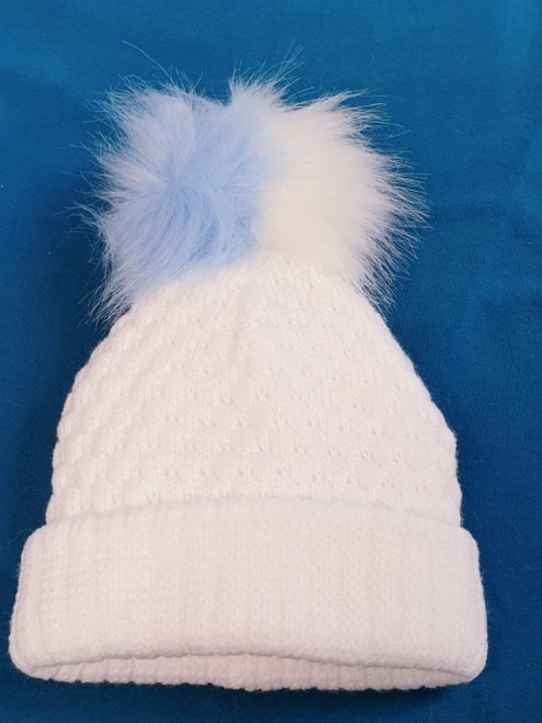 Two toned faux fur Pom Pom fleece lined hat White (blue white)