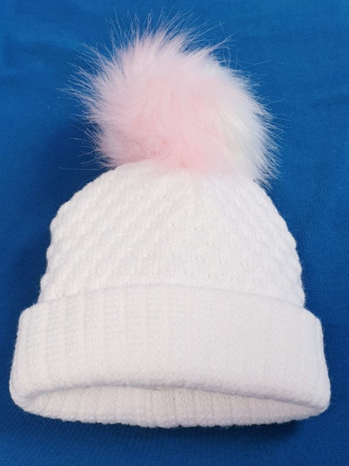 Two toned faux fur Pom Pom fleece lined hat White (pink white)