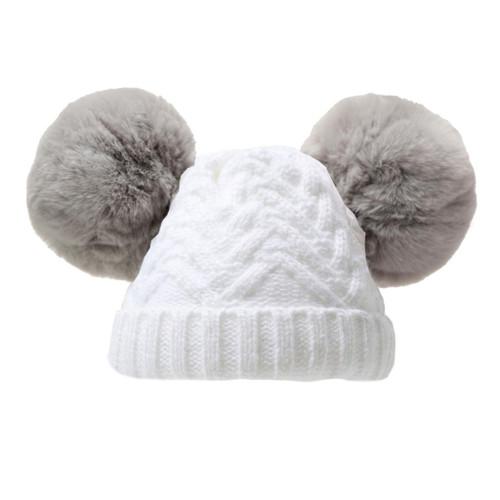 white knit hat with grey faux furdouble pompoms