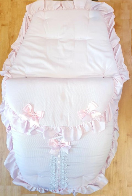 Baby Pink ribbon slot Frilly 3in1 Footmuff, Liner and babynest