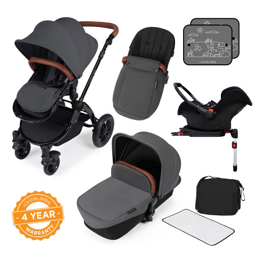 Icklebubba Graphite Grey on Black Stomp V3 3in1 travel system including Isofix (handles tan or Black)