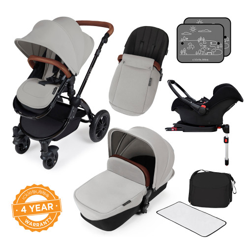 Icklebubba Silver on Black Stomp V3 3in1 travel system including Isofix (handles tan or Black)