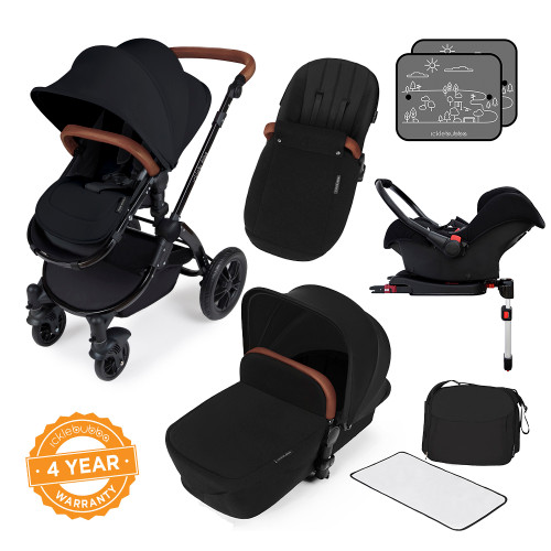 Icklebubba Black on Black Stomp V3 3in1 travel system including Isofix (handles tan or Black)