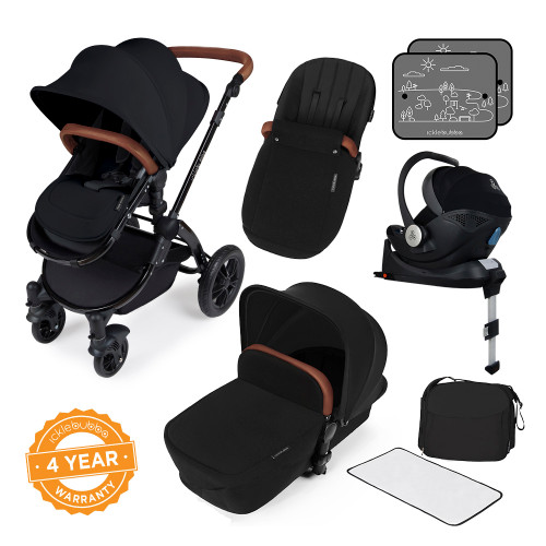 Icklebubba Black on Black Stomp V3 iSize 3in1 travel system including Isofix (handles tan or Black)