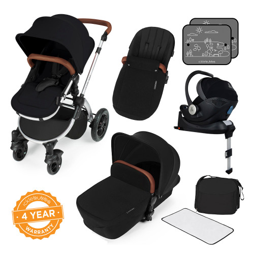Icklebubba Black on Silver Stomp V3 iSize 3in1 travel system including Isofix (handles tan or Black)