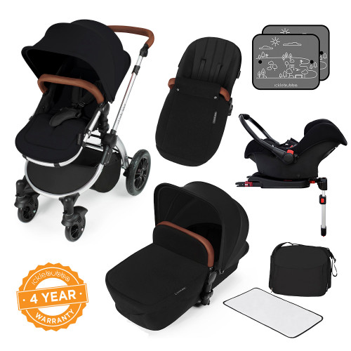 Icklebubba Black on Silver Stomp V3 3in1 travel system including Isofix (handles tan or Black)