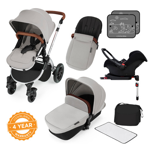 Icklebubba Silver on Silver Stomp V3 3in1 travel system including Isofix (handles tan or Black)