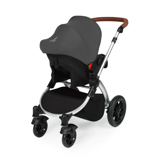 Icklebubba Graphite Grey on Silver Stomp V3 3in1 travel system including Isofix (handles tan or Black)