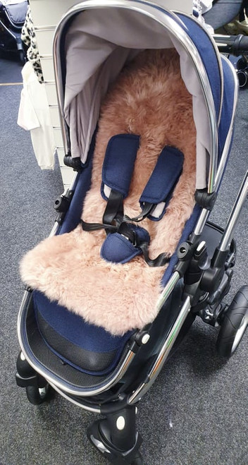 Blush Pink Strip Sheepskin Pushchair Liner