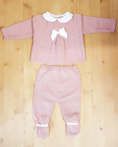 Dusky Pink Knitted two piece Cable and Bow