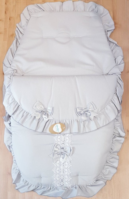Grey ribbon slot Frilly 3in1 Footmuff, Liner and babynest