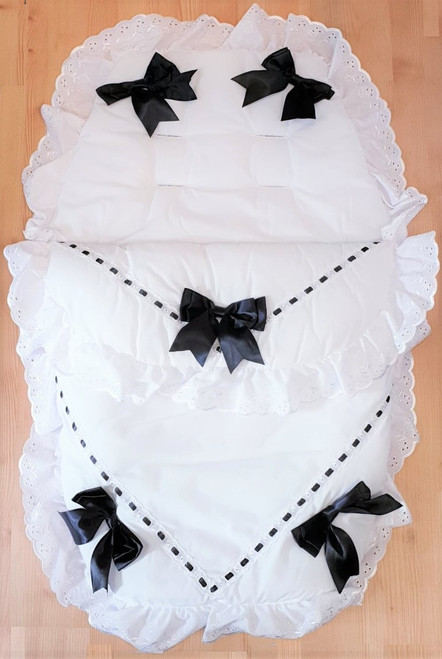 White with Black ribbon Frilly 3in1 Footmuff, Liner and babynest