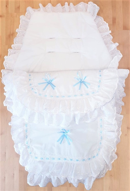 White with Blue ribbon Frilly 3in1 Footmuff, Liner and babynest