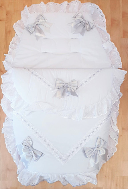 White with Grey ribbon Frilly 3in1 Footmuff, Liner and babynest