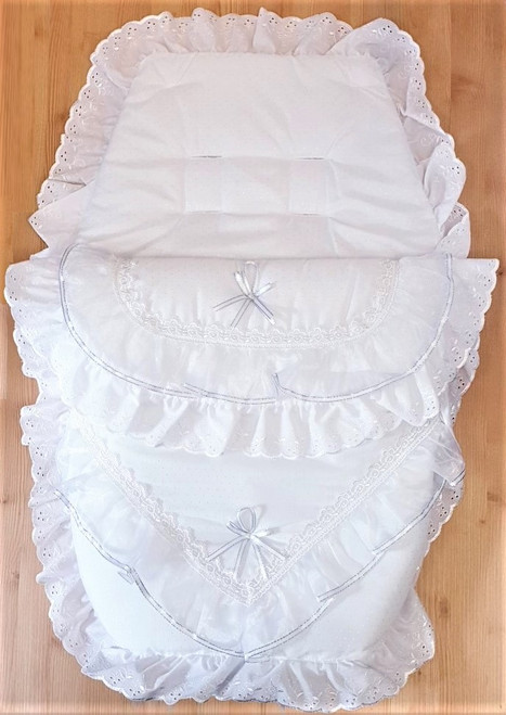 White with Silver ribbon and organza Frilly 3in1 Footmuff, Liner and babynest