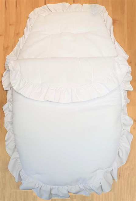 White waffle Frilly 3in1 Footmuff, Liner and babynest (Minor frill)