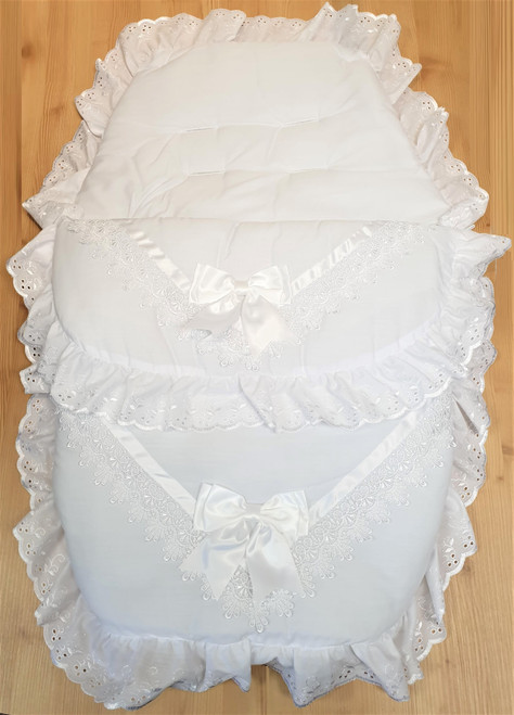 White with white ribbon detail Frilly 3in1 Footmuff, Liner and babynest