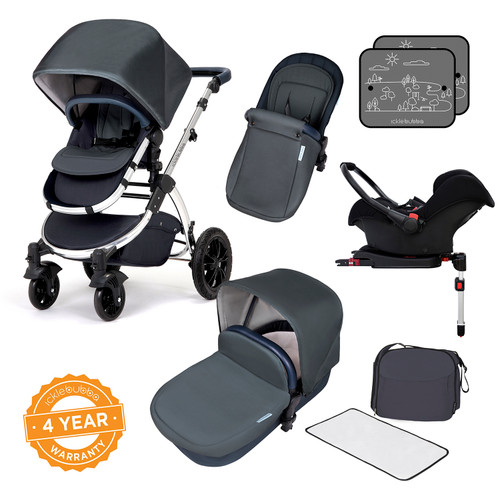 Icklebubba Blueberry Mirror Stomp V4 3in1 travel system including Isofix