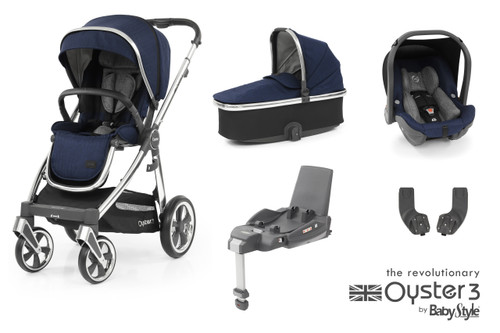 Oyster 3 Essential 5 piece Bundle Navy inc matching car seat and isofix base