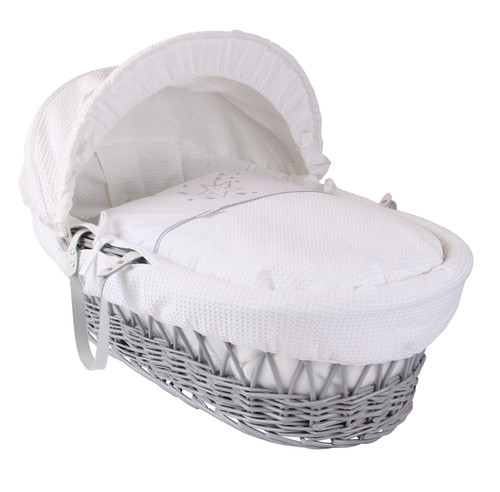 Stardust Grey Wicker Moses Basket