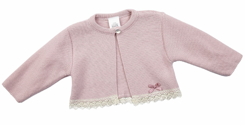 Pink Cotton knitted bolero with Lace detail