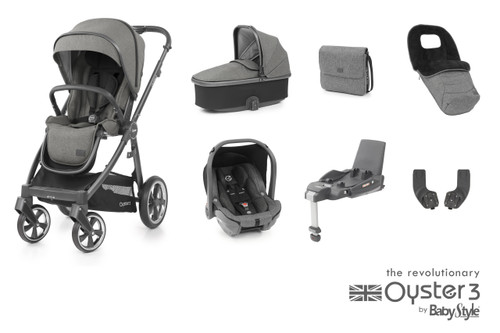 Oyster 3 Luxury 7 piece Bundle Mercury City Grey with matching car seat and isofix
