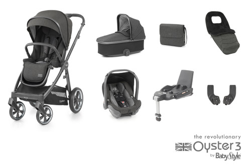 Oyster 3 Luxury 7 piece Bundle Pepper including matching car seat and isofix base
