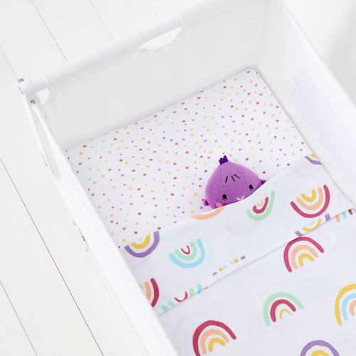 Crib 2 Pack Fitted Sheets - Colourful Rainbow /Spots