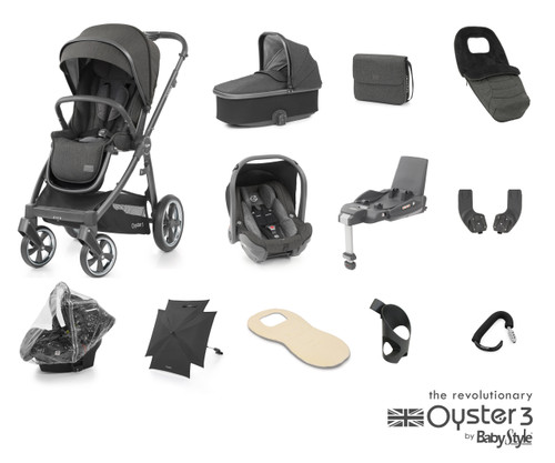 Oyster 3 Ultimate 12 piece Bundle Pepper including matching car seat and isofix base