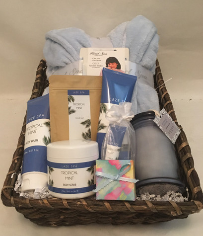 Blue robe with tropical mint scented bath products