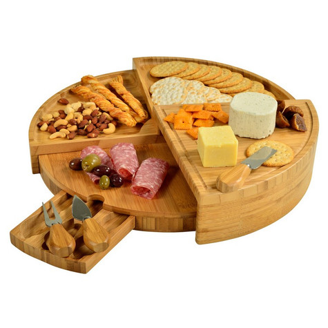 An Ascot original and exclusive, the Vienna Cheese Board Set is a Bamboo Board that amazingly transforms from a wedge to a circular, multi level cheese board with three stainless steel tools in a pull out drawer.  The ingenious high quality board will impress your guests when entertaining for all occasions.