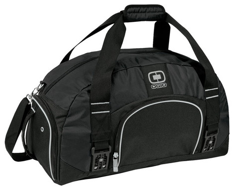 Big Dome Duffle Bag.  Large capacity for the gym or light travel.  The cavernous interior easily holds a complete change of clothes and shoes.  Features front zippered pocket, padded shoulder strap and all metal hardware.  Includes ventilated shoe compartment with grab handle and fabric-wrapped handle.