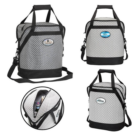 """Waterville Oval Cooler Bag.  A 20-can cooler with woven poly mesh fabric and black trim, zippered main compartment with heat sealed PEVA lining, carry handles with hook and loop pad.  1-1/2"""" x 46-1/2"""" removable and adjustable shoulder strap."""