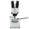 20X Stereo Microscope, Binocular, 90° Eyetube Angle, Post Stand, Incandescent Top and Bottom Light, Bright Field