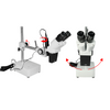 5X Widefield Stereo Microscope, Binocular, Single Arm Boom Stand with Arbor, LED Top Light
