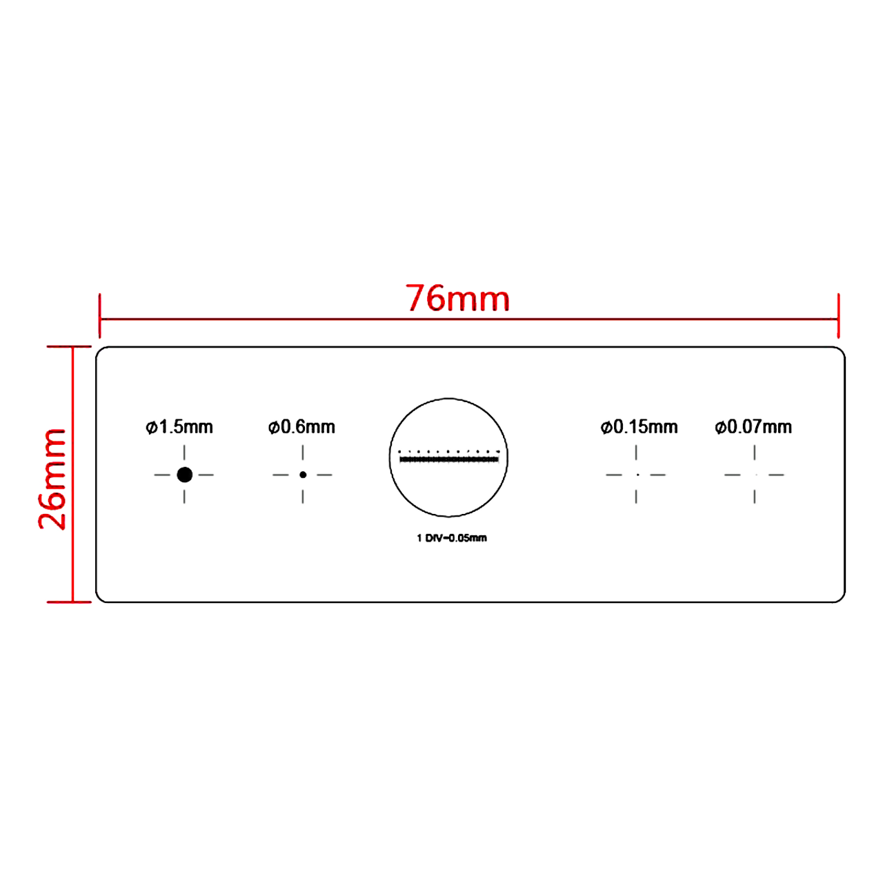 TCM-H Microscope Stage Micrometer Calibration Slide with 4-Scales and 0.01mm Line Resolution