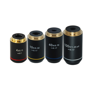 Infinity-Corrected Achromatic Microscope Objective Lens Set (Oil Spring) 4X 10X 40X 100X with Black Finish
