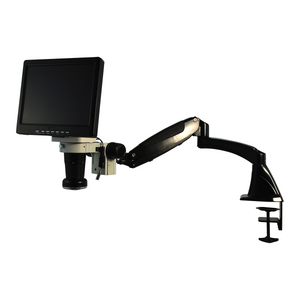LED Video Microscope, LCD 10 in. Monitor, Industrial Inspection, Pneumatic Arm