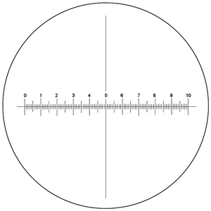 Microscope Eyepiece Reticle Cross Line Micrometer Ruler, X-Axis Crosshair Scale Dia. 16mm, 10mm/100 Div.