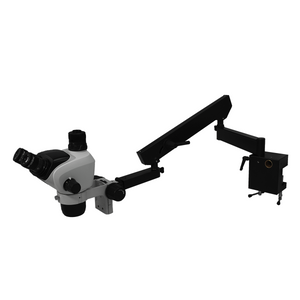 6.6X-51X Widefield Zoom Stereo Microscope, Trinocular, Flexible Articulating Arm Table Clamp