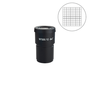 WF 20X Widefield Microscope Eyepiece with Reticle, Net Grid, High Eyepoint, 30mm, FOV 12mm (One)