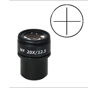 WF 20X Widefield Focusable Microscope Eyepiece with Reticle, Cross Line, High Eyepoint, 30mm, FOV 12.5mm, Adjustable Diopter (One)