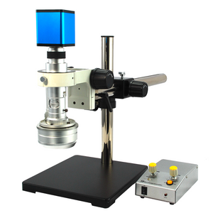0.65-4.5X Industrial Inspection 3D Video Microscope + HDMI Digital Camera, Boom Stand