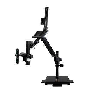 0.35X-2.25X Video Zoom Microscope on Flexible Articulating Arm Post Stand with Monitor Holder
